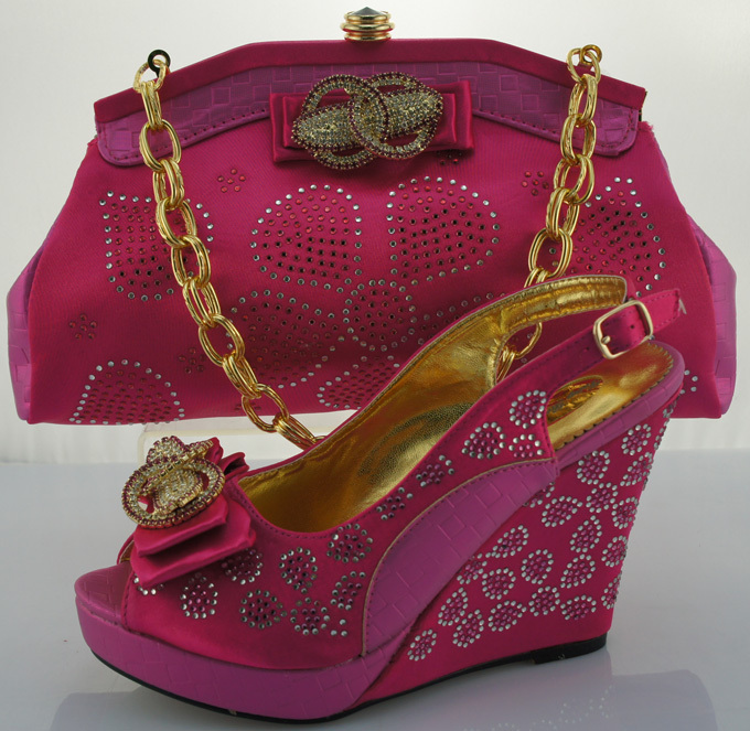 ФОТО African lady shoes and bag matching set for high quality,Beautiful plum Italian Shoes And Bag ME0016 Fuchsia+pink.