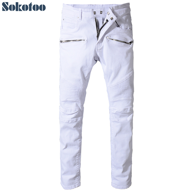 Sokotoo Men's slim fit straight white biker jeans for motorcycle Plus size classic pleated denim pants