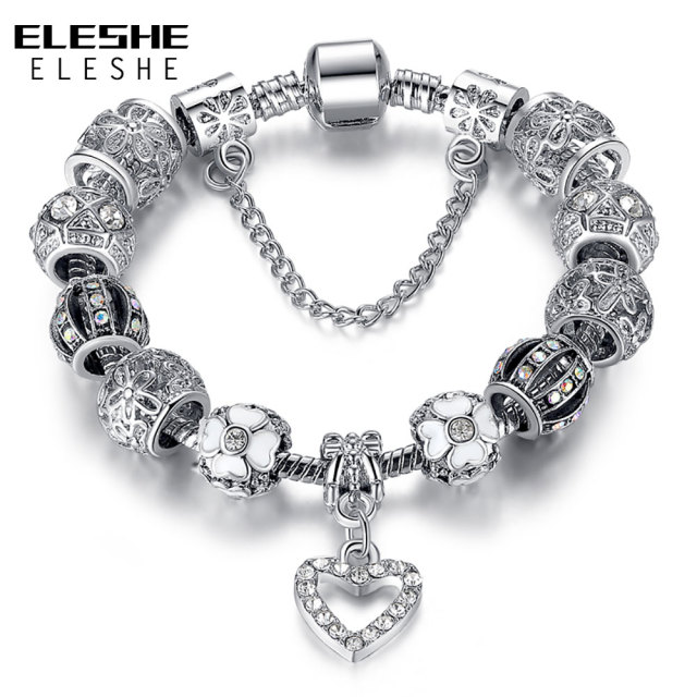 Eleshe Fashion Silver Heart Charms Bracelet Bangle For Women Diy 925 Crystal Beads Fit Original Bracelets