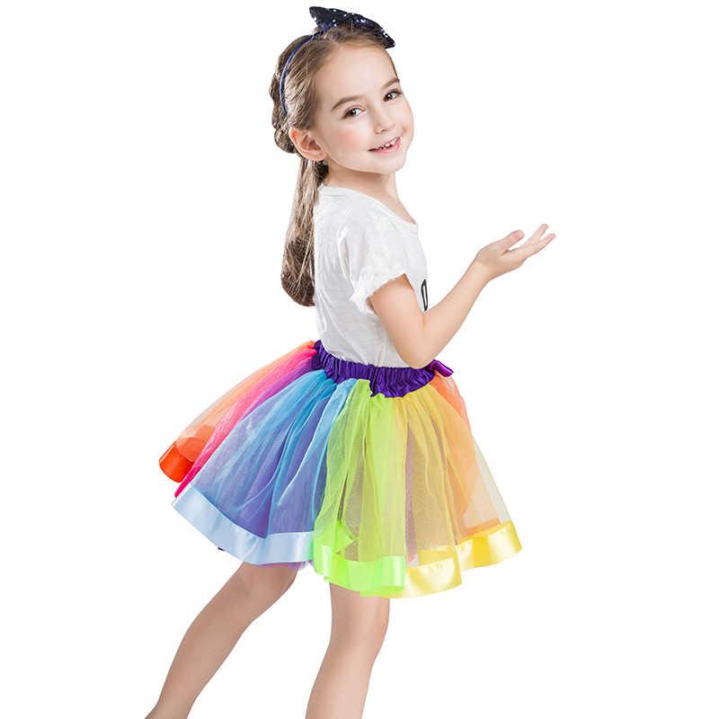 B & N niñas Arco Iris tutú falda princesa Mini tul Pettiskirt con lazo Casual niñas cumpleaños fiesta baile vestido de traje