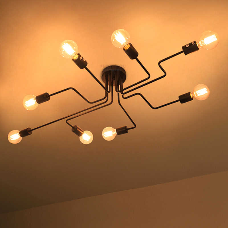 Vintage Ceiling Lights Multiple Rod Wrought Iron Ceiling Lamp E27 Bulb Living Room Lamparas For Home Lighting Fixtures