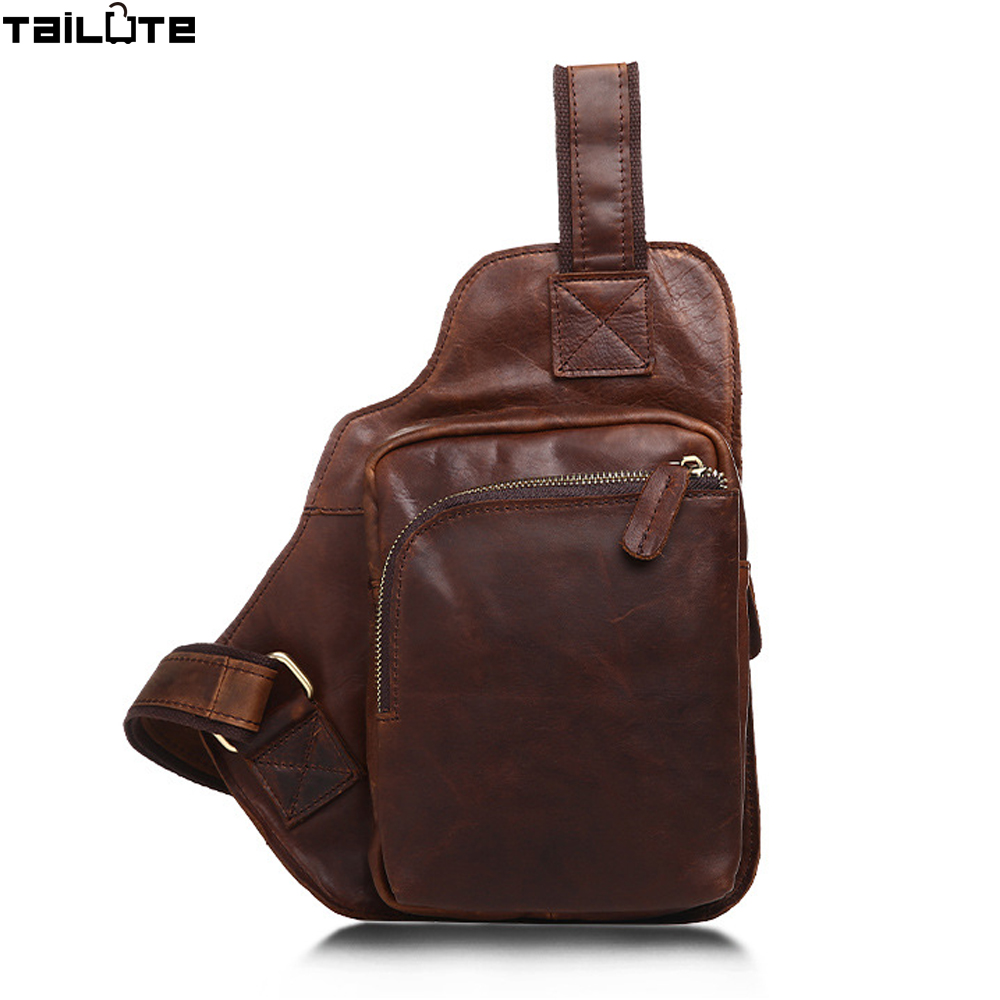 TAILUTE Genuine Leather Men Bag Single Shoulder Back Strap Chest Bag Brown Vintage Style Messenger Crossbody Bag Me