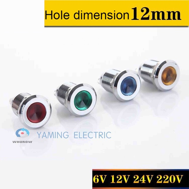 12mm Signal Light Pilot Lamp 12V 24V 220V Metal LED Indicator YM036