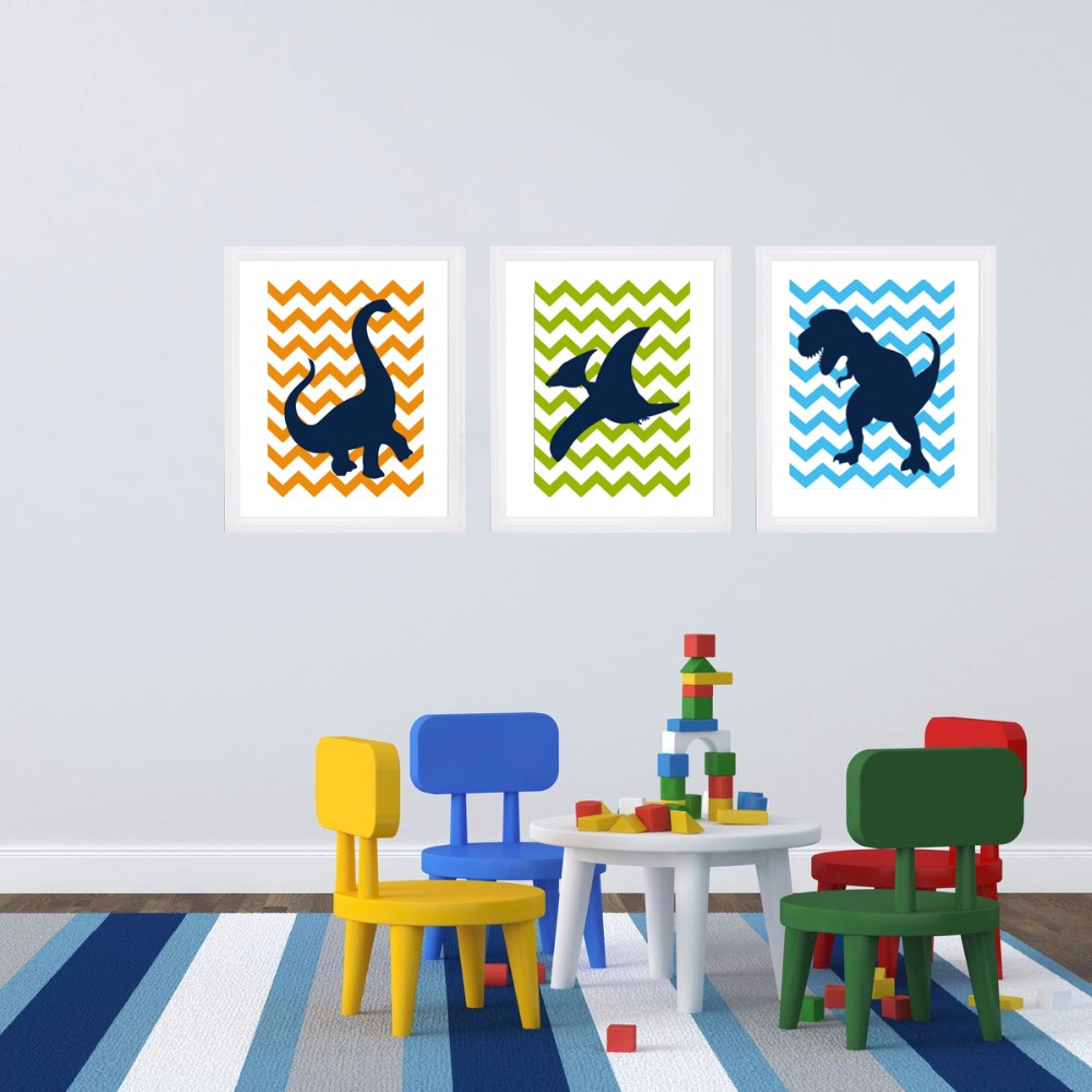 Aliexpress.com : Buy Dinosaur Cartoon Canvas Painting Nursery Wall Art Big  Silhouette Chevron DINO Theme Picture Kids Boy Bedroom Home Decor No Frame  From ... Part 77