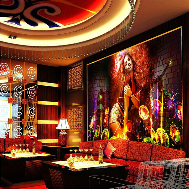 Bar Wallpaper: Wallpaper 3D Gold Music Singing And Dancing Disco