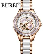 BUREI 2016 relógio marca de luxo relógios das mulheres automático mecânica relógio relógio de safira do relógio à prova d' água de cerâmica Senhoras watchband Assistir
