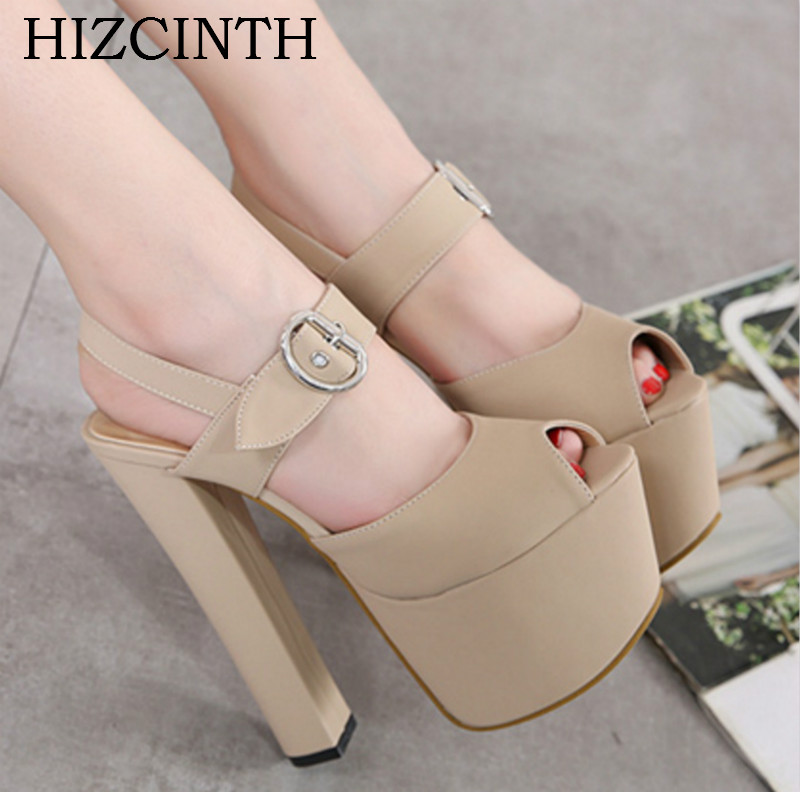 HIZCINTH 2018 Summer Sandal For Women Thick high-heeled Sexy Fish Mouth Platform Gladiator Sandals Buckles Women's Shoes Pumps fish mouth gladiator sandals women platform wedges shoes 2017 summer beaches ladies shoes korean style creepers women s sandles