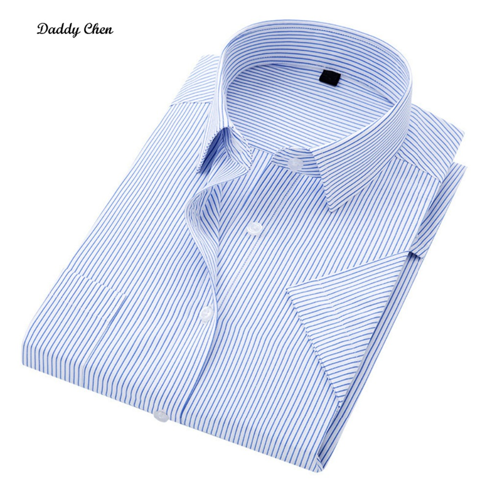 Fashion Vertical stripes Formal dress shirt men slim fit Blue Breathable short sleeve Office Business male shirt big size 5XL ...