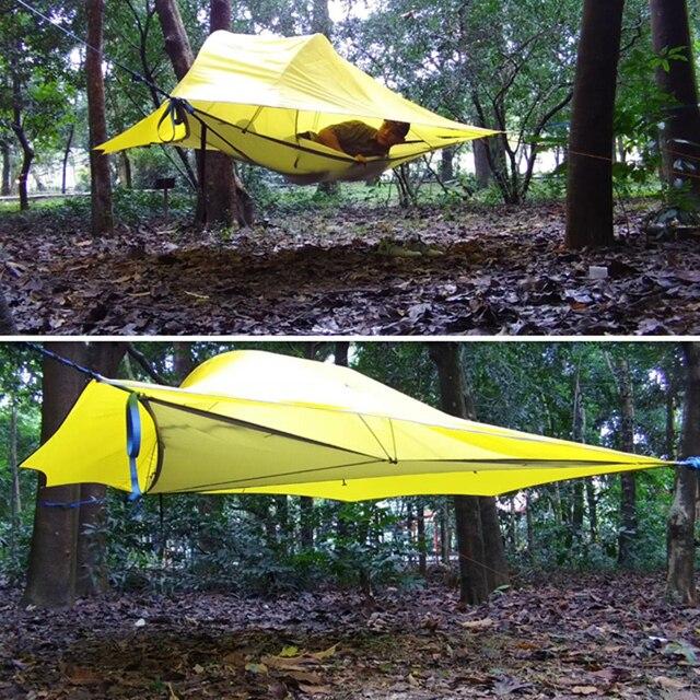 خيمة تخييم من SKYSURF مزودة بشجرة من 3 إلى 4 أشخاص خفيفة محمولة للتخييم على شكل مثلث خيمة معلقة للتخييم على الشاطئ أرجوحة للتخييم