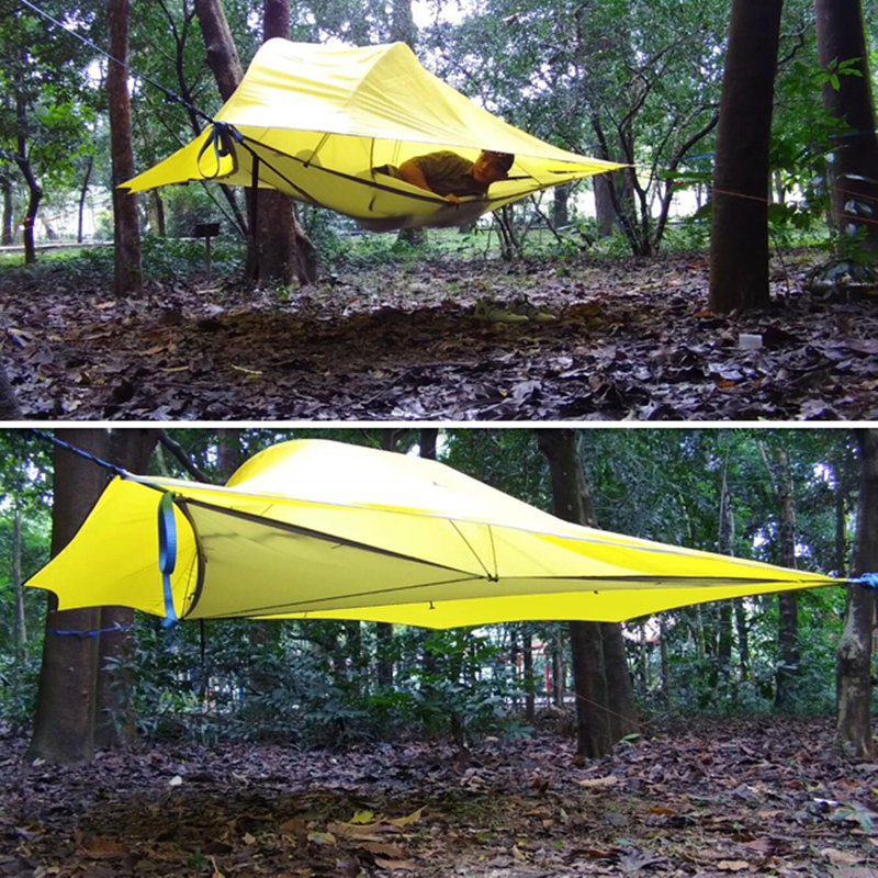 SKYSURF Camping arbre tente 3-4 personnes ultra-léger Portable Camping tente Triangle Suspension tente suspendue Camping plage hamac