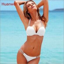 Blanco traje de Baño Bikini Push Up Bikini Brasileño Atractivo Del Vendaje Playa traje de Baño de Las Señoras traje de Baño Traje de Baño Maillot De Bain 0190