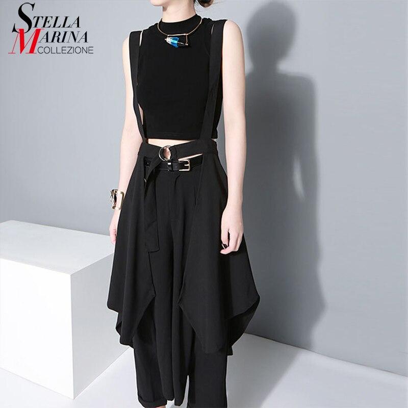 2019 Korean Style Women Solid Black Asymmetrical Chiffon Skirt & Sashes Knee Length Long Tail Female Unique Suspender Skirt 1431