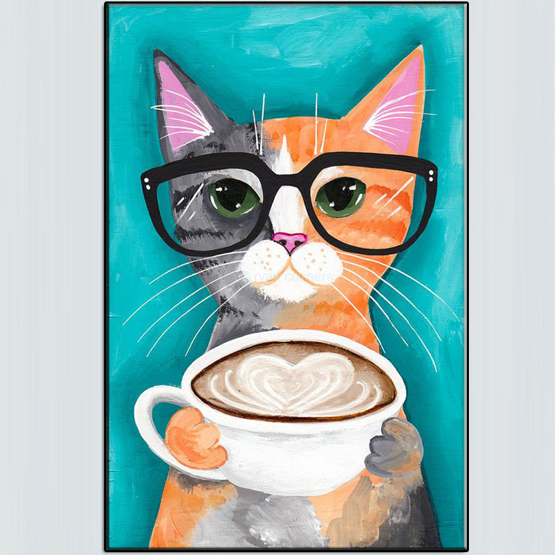 2017 limited handmade a latte with love original for cat for Cat paintings on canvas