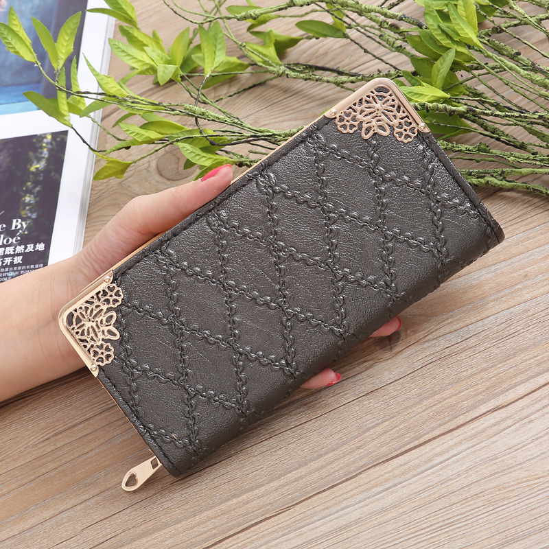Long Wallet Women Purses Fashion Designer Hollow Embossed Lingge Wallet Lady Sweet Clutch Wallet Multi-card Purse Portefeuille