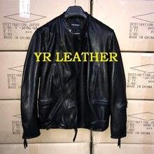 YR!Free shipping.Pakistan tanning sheepskin.Brand man Luxury casual leather jacket,vintage genuine leather coat,classic
