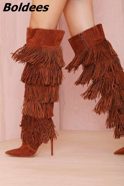 Chic Women Solid Brown Suede Flowing Fringe Stiletto Heels Knee High Boots Sexy Pointed Toe Side Zipper Tassel Long Boots