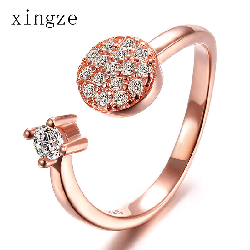 Fashion Rose Gold Color Opening Ring For Women Handmade Inlaid