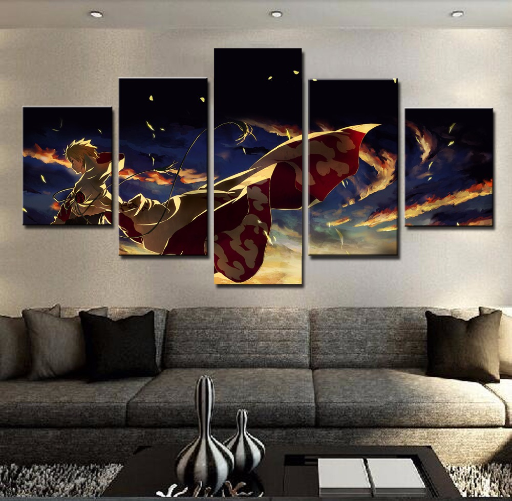Home decor wall art canvas painting frame hokage ninjia hd print modern oil pictures 5 panel cartoon anime naruto poster pengda in painting calligraphy