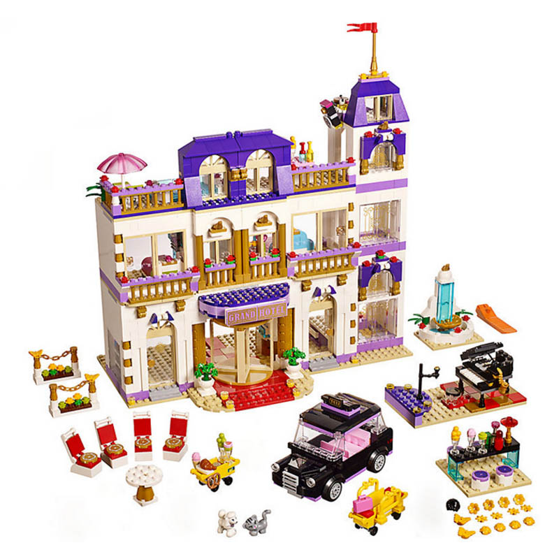 10547 1676Pcs Girls Series The Heartlake Grand Hotel Model Building Blocks Bricks 01045 toys for girls Gift birthday 41101 1585pcs friends series heartlake grand hotel 10547 model building bricks blocks emma stephanie toys girls compatible with lego