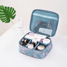 Portable Travel Cosmetic Bag Necessaries Make Up Case Organizer Beauty Toiletry Flamingo Cactus Color Women Mini Handbag