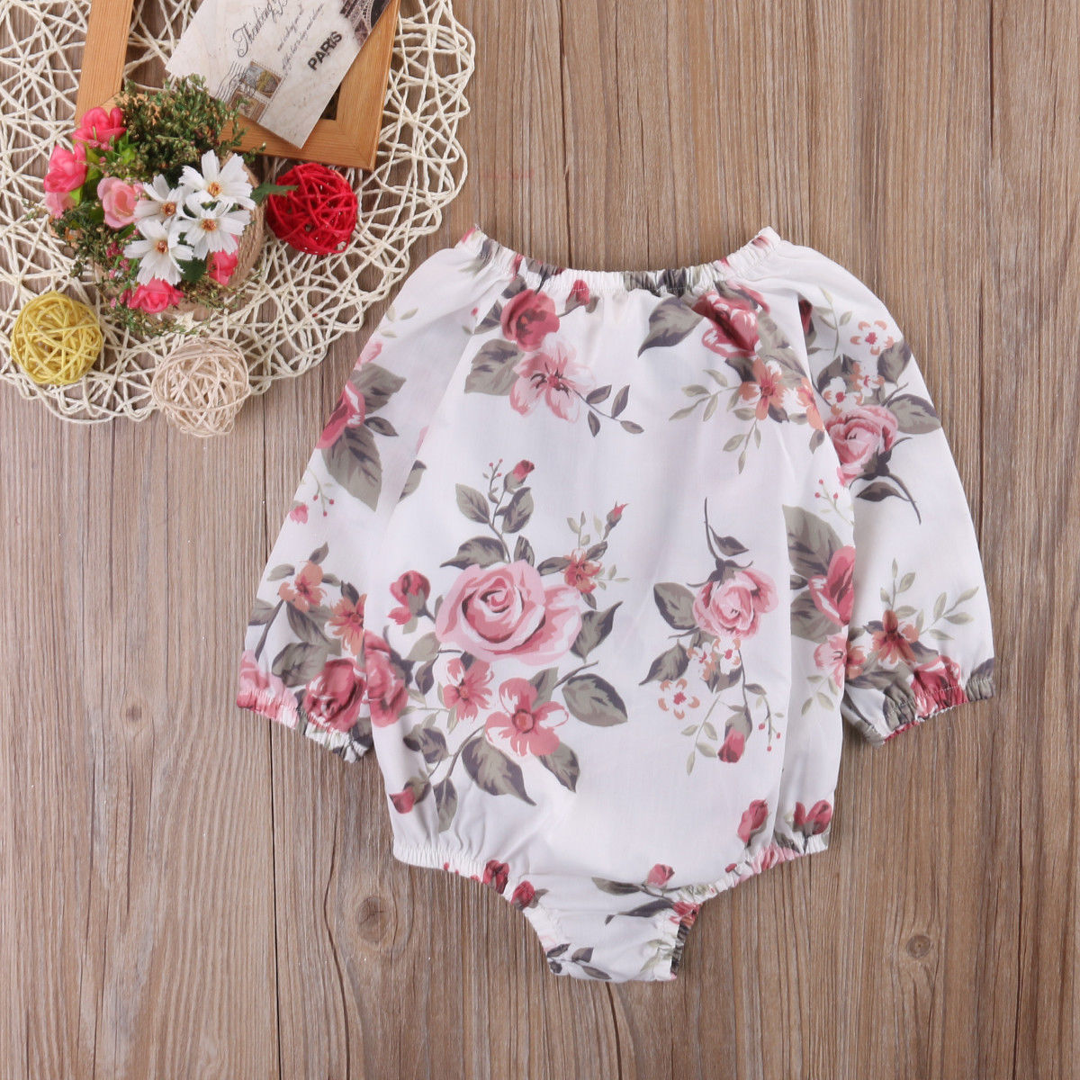 Toddler Flower T-Shirt Floral Baby-Girl Bodysuit Infant Newborn 0-24M Outfit-Set