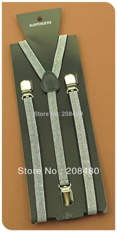 Women Men`s Unisex Clip-on Elastic Braces 1.5cm wide Sliver Glitter Suspenders Slim Suspender Y-back Suspenders/gallus