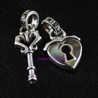 925 srebro biżuteria w stylu retro dwustronne klucz i blokady serca wisiorek para