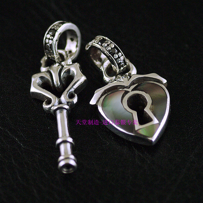 925 sterling silver jewelry retro style double-sided key and heart lock pendant couple