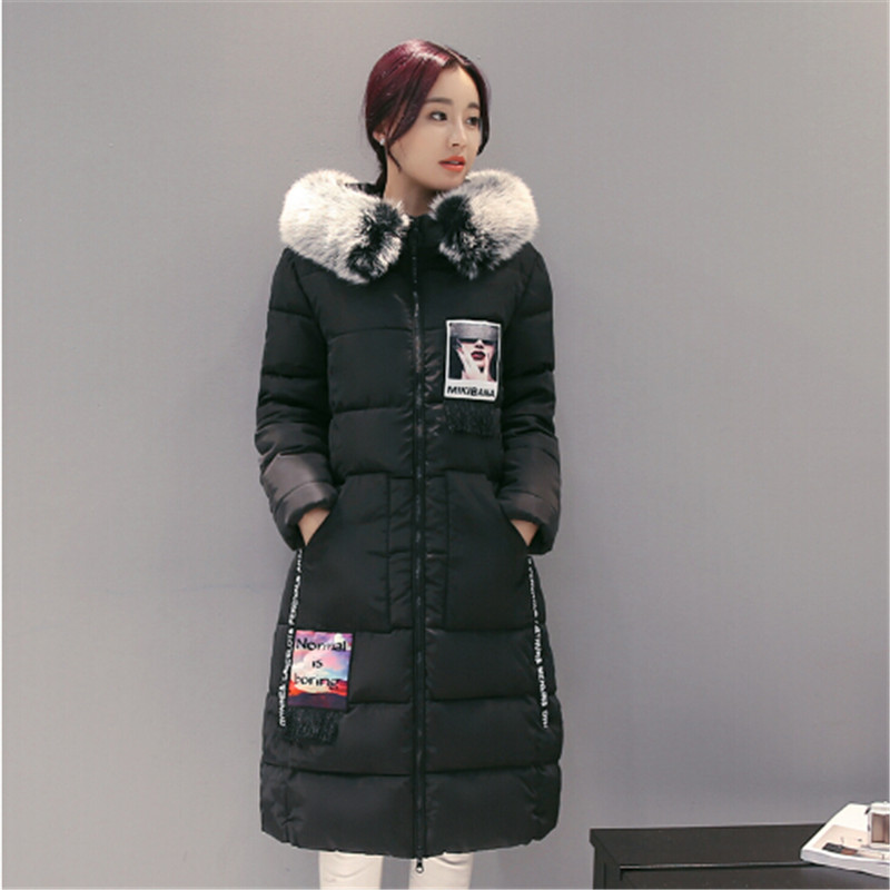 AILOOGE 2017 Loose With Thick Cotton-padded Clothes Make New Winter Female Long Hooded Hairy Cotton-Padded Jacket Down Jacket