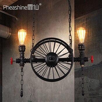Loft rétro art américain roue industrielle fer lustre restaurant bar lampe