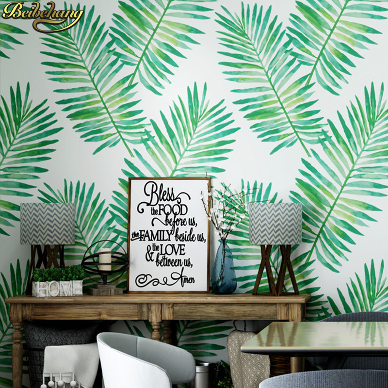 beibehang Nordic leaves non-woven Palm leaf wallpapers for living room bedroom wallpaper for wall papers home decor murals roll 3d flowers wallpapes murals custom photo wallpapers for living room bedroom wall papers home decor blue florals painting murals