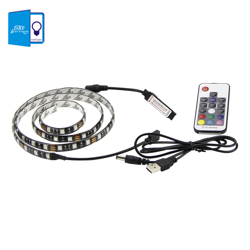 free shipping 5v usb led strip 5050 rgb tv background lighting 60leds  m with 17key rf controller