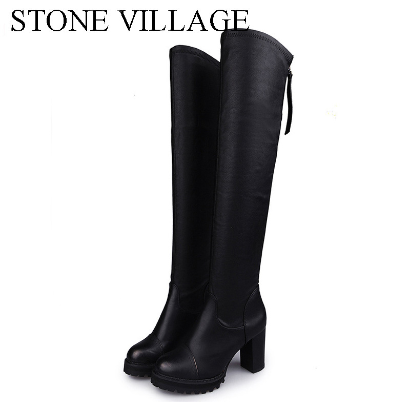 STONE VILLAGE Autumn Winter Thigh High Boots Slip On Over The Knee Boots High Heels Girls Pu Leather Boots Woman Shoes Black