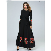 Long Sleeve Splice Red Flower Black Anarkali Frocks Gowns,New Model Abaya in Dubai Indian Clothing Long Dresses With Belt