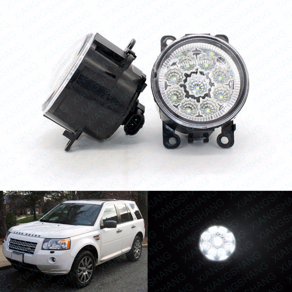 ФОТО 2pcs Car Styling Round Front Bumper LED Fog Lights DRL Daytime Running Driving fog lamps for LAND ROVER FREELANDER 2 LR2 200