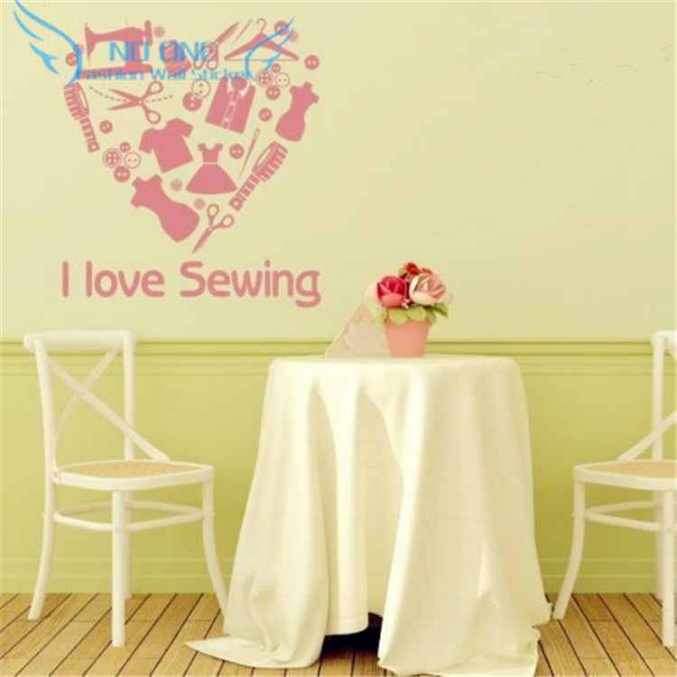 Love sewing Removable Vinyl Heart Wall Art Wall Decals Home Decor ...