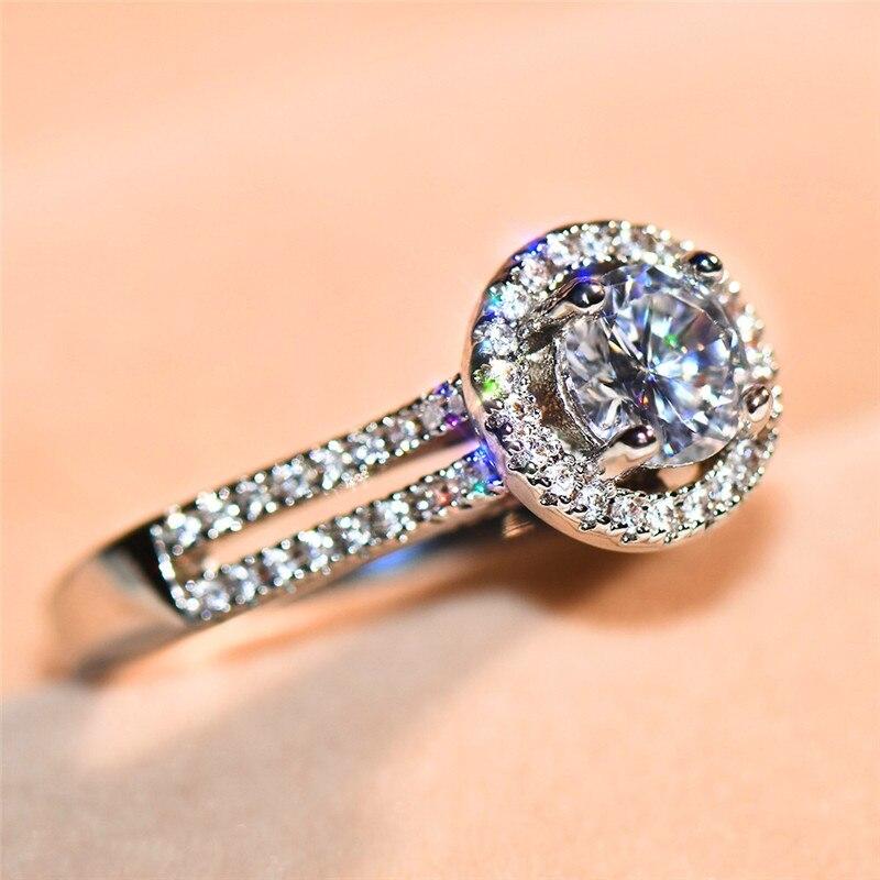 Blaike Big Oval Weiß Zirkon Cz Stein Ring Für Frauen 925 Silber Gefüllt Kristall Ring Weiblichen Birthstone Hochzeit Engagement Schmuck Verlobungsringe