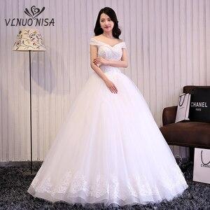 Image 1 - 2018 Mùa Thu Và Mùa Đông Mới Đến Áo CướI Tay Ngang Ren Phong Cách Hàn Quốc Người Yêu Thanh Lịch Đầm Vestido De Noiva Tùy Chỉnh Plus Kích Thước