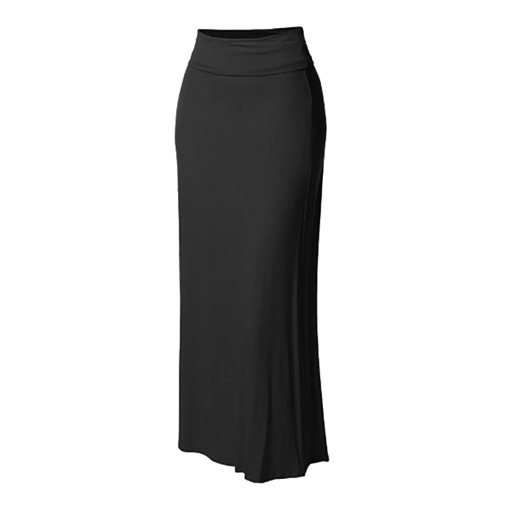 Jaycosin skirt high waist ladies solid color high waist casual skirt ladies ball skirt Bodycon Stitching Long Maxi Skirt