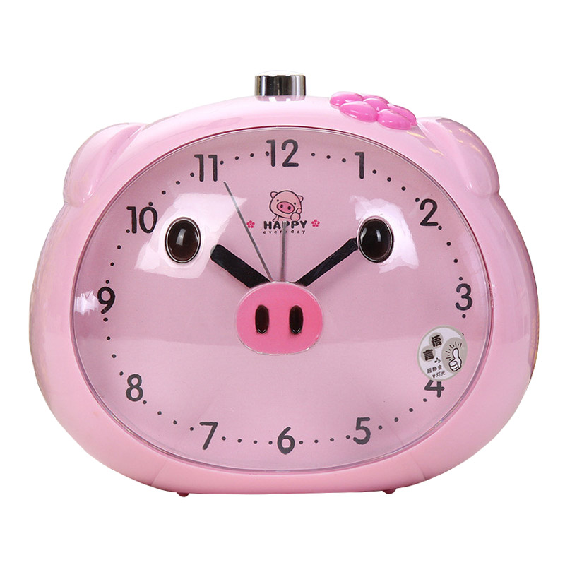 Novelty Speaker Pig Vækkeur Med LED Lysbord Ure Natlys Reloj Ur For Børn Sleeping Cartoon Alarm Ure