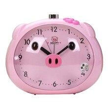 Novelty Speaker Pig Alarm Clock With LED Light Table Clocks Night Light Reloj Clock For Children Sleeping Cartoon Alarm Clocks