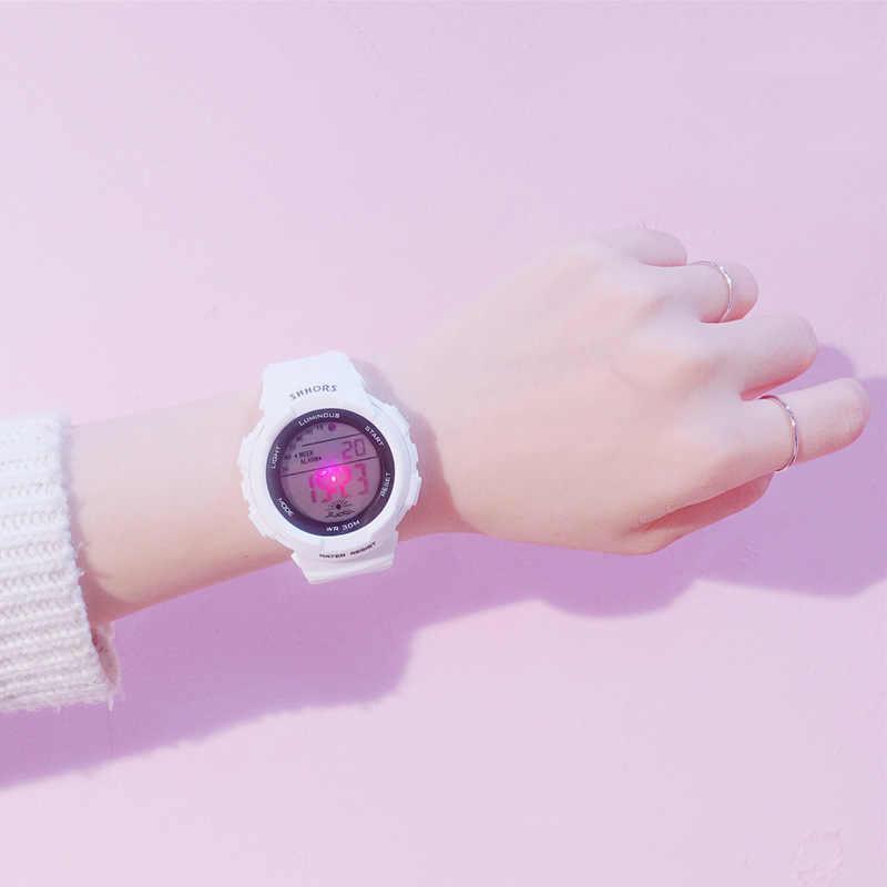 トレンドブランド多機能電子デジタルディスプレイ腕時計女性シリコーンスポーツ学生腕時計発光時計ギフト
