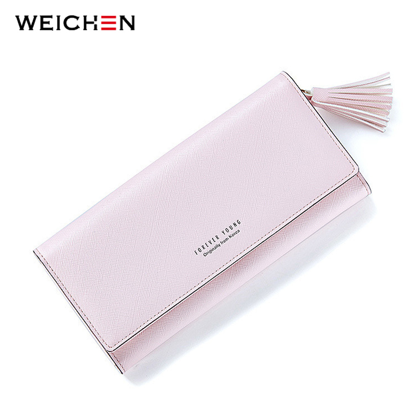 где купить WEICHEN Fashion Pink Tassels Wallet For Women Lady Long Clutch Wallets Brand Female Change Purse Hasp Coin Pocket Card Holder по лучшей цене