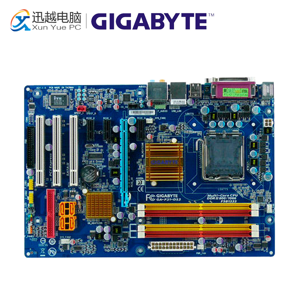 Gigabyte GA-P31-DS3 Desktop Motherboard P31-DS3 P31 LGA 775 DDR2 SATA2 ATX gigabyte ga ma770 ds3 original used desktop motherboard amd 770 socket am2 ddr2 sata2 usb2 0 atx