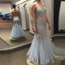 Lange Prom kleider 2017 kristall Halter Perlen Silber Backlss Mermaid Graduierung Chiffon Abendkleid abendkleider kristall neue