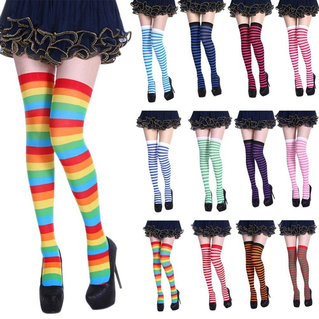 Knee Socks Girl Women Sexy Slim Striped Long Socks Autumn Christmas Halloween Easter Ball Party Costume Knee High Socks Women