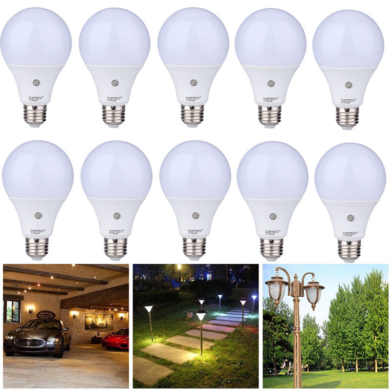 US E27 7W Auto <font><b>Light</b></font> Sensor Bulb Energy <font><b>Saver</b></font> Dusk to Dawn LED Lamps Warm White