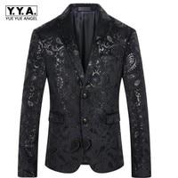 Top Fashion High Quality Luxury Mens Single Breasted Blazer Floral Print Bar Coats Dress Formal Top Luxury Jacket Fashion