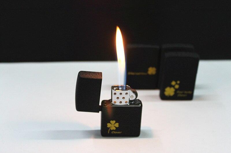 Мода матовая текстура Четыре клевер пожар легче Для мужчин легче курить сигары flint пламени газовой Запальные средства для мангала Для мужчи...