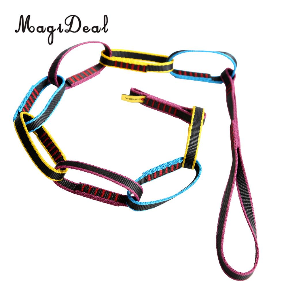 MagiDeal Hot Sale 22KN Rock Climbing Tree Rigging Sling Webbing Loop Daisy Chain Equipment for Outdoor Multi Pitch Climbing Acce